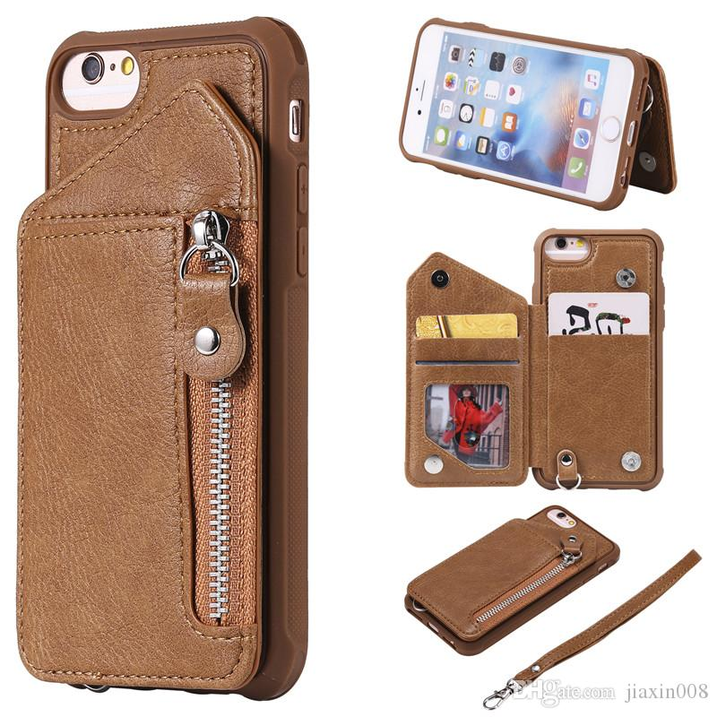 For iPhone 6 6S Case Zipper Humanized Card Slot Design Cover Double buckle Stand shockproof For iPhone 7/8