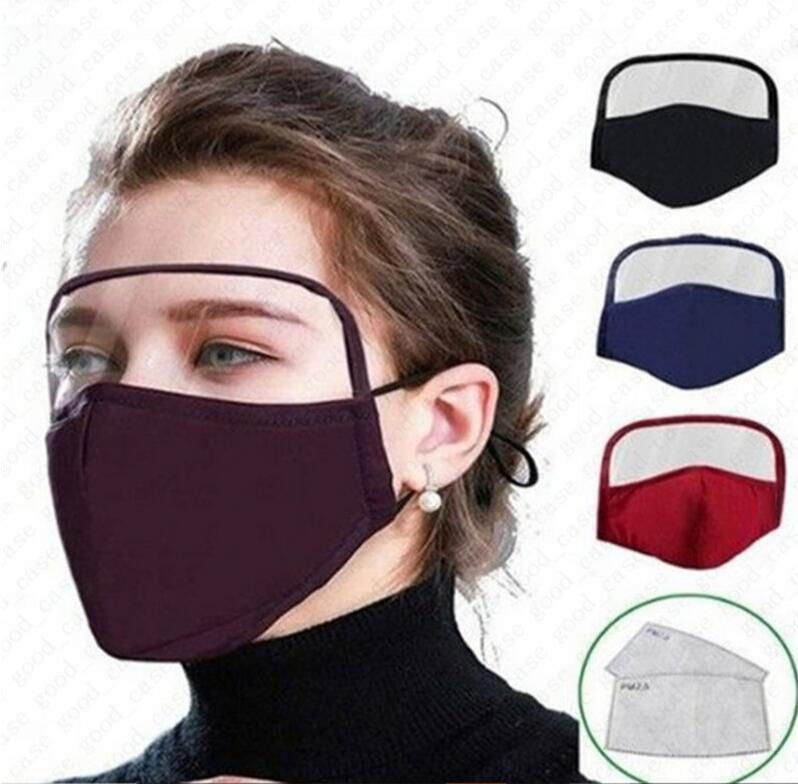 Máscara facial adultos con protector del ojo lavables 2 capas de algodón mascarilla con Válvula de ventilación al aire libre Caja protectora de la boca cubierta máscaras D6808