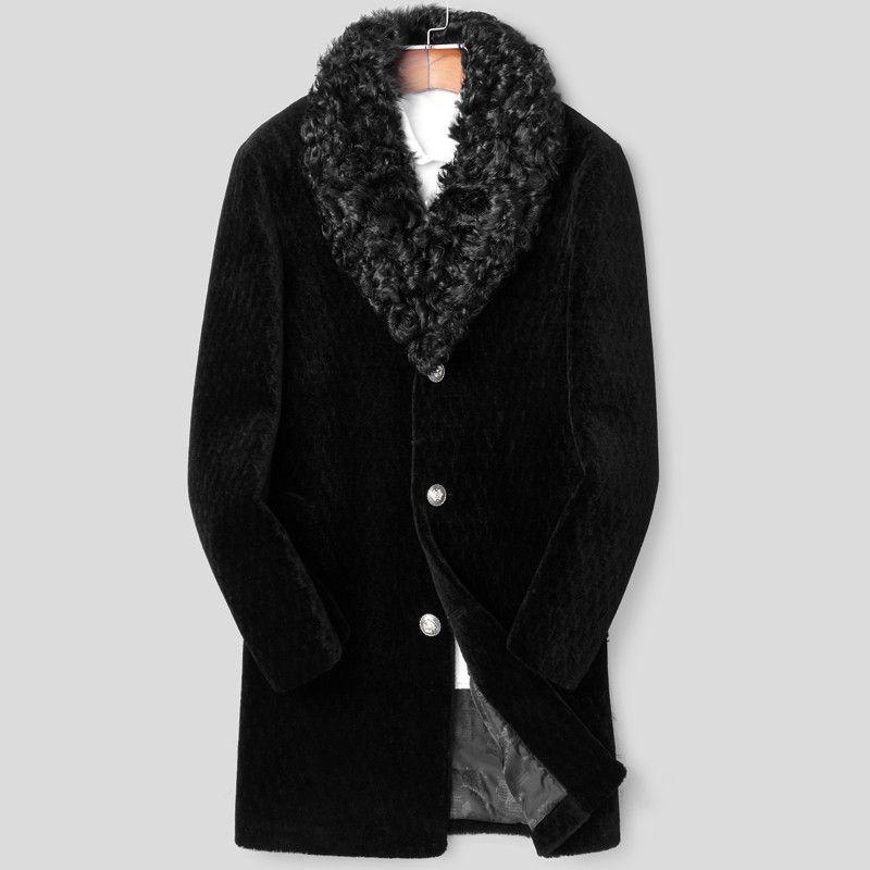 100% Wool Coat Winter Jacket Men Real Sheep Shearling Fur Long Coats Mens Lamb Fur Collar Warm Jackets Chaqueta Hombre MY1604