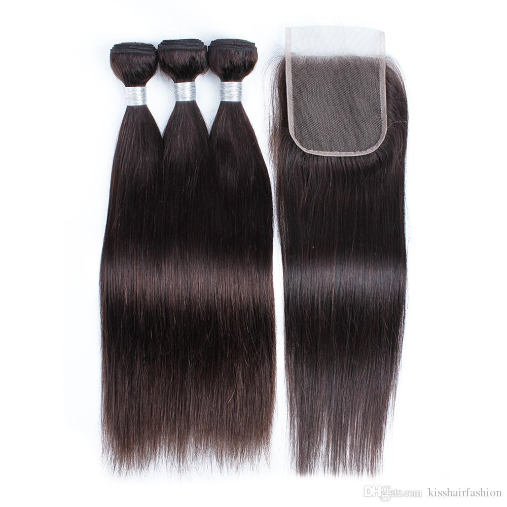 Kisshair cor castanha mais escura # 2 Hands Human Hair 3 pacotes com fechamento 100% indiano brasileiro brasileiro cabelo humano peruano