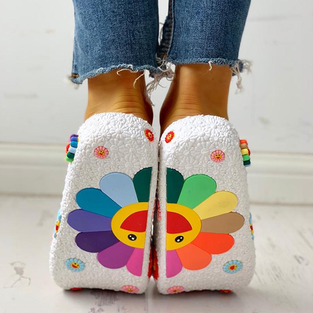Zapatillas de playa 3D Sonreír Plataforma girasol mujeres de las sandalias planos ocasionales fracasos de tirón de las mujeres fuera de Verano hogar Baño Indoor Shoes