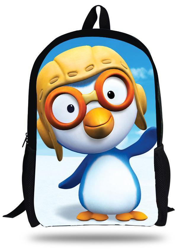 Linda de la escuela de 16 pulgadas de dibujos animados pequeño pingüino Pororo Mochila los niños Schoolbag niñas Impresión chicos adolescentes Bolsas Mochilas Infantil