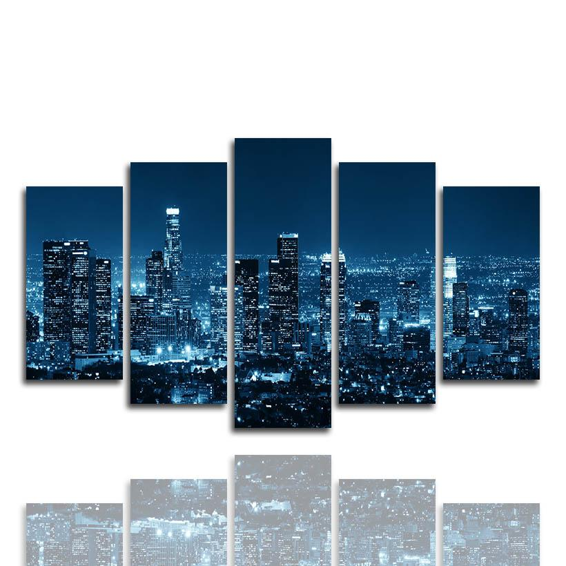 (Only Canvas No Frame) 5PCS Los Angeles Cityscape Building Night Wall Art HD Print Canvas Painting Fashion Hanging Pictures for Bed Room