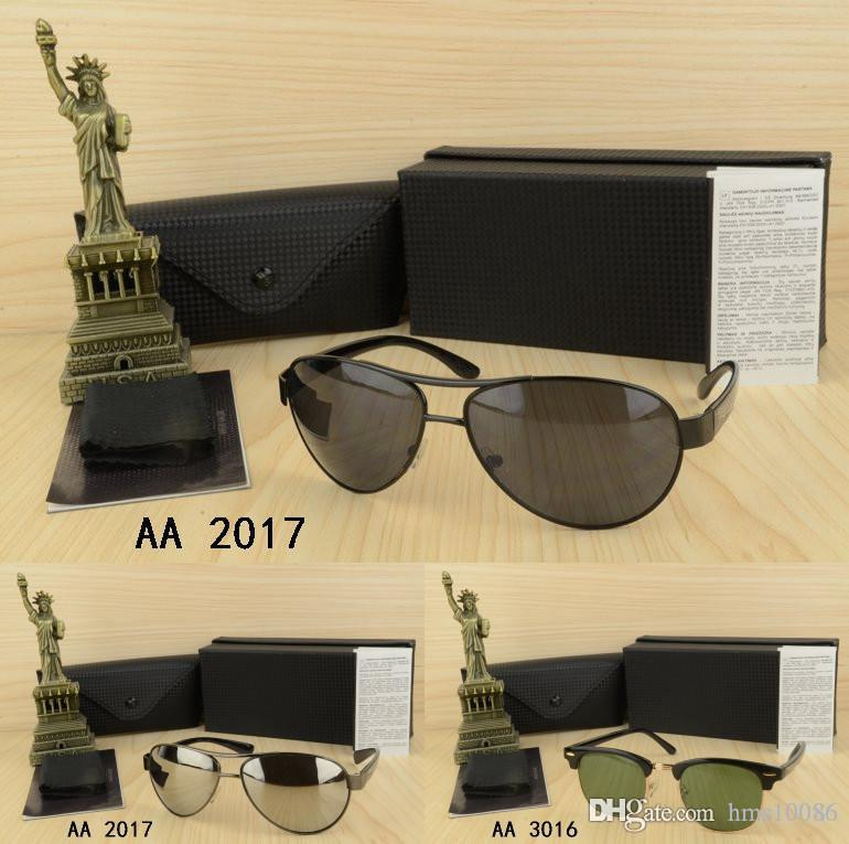 Wholesale men or woman Sunglasses with box eyeglasses square style gold frame Outdoor Goggle glasses birthday present Driving Night Vision