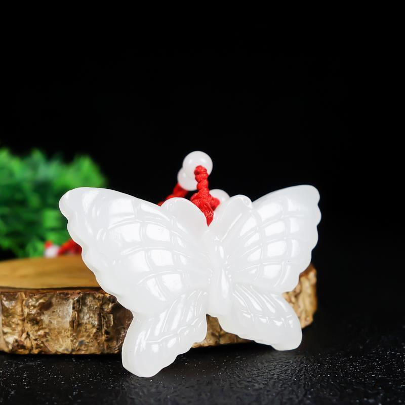 Colgante de mariposa de jade blanco Natural para envío gratis
