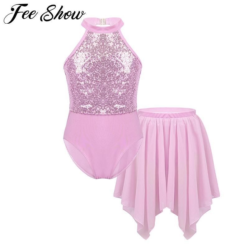 Paillettes enfants filles Halter Neck Ballet Danse Gymnastique Léotard avec ourlet irrégulier jupe en mousseline Outfit Set Ballet Robe