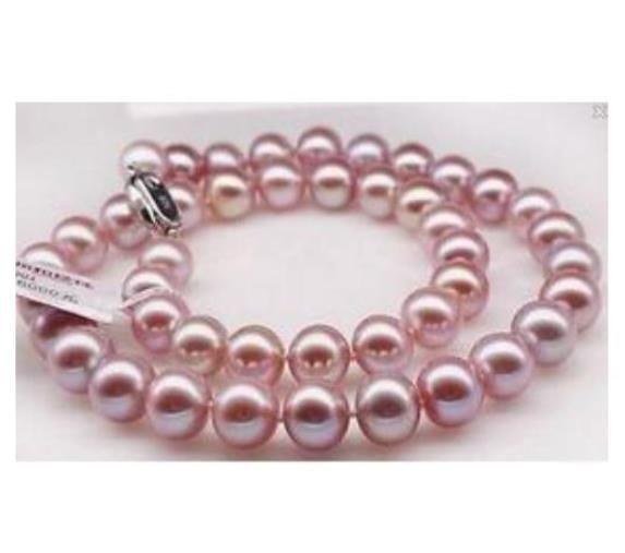 9-10mm Natürliche Südsee Lila Perlenkette 19 Zoll S925 Silber Zubehör