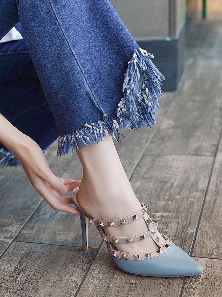 Free2019 Fine Sharp с заклепками будет код Полуприцеп Baotou Сандалии Женская обувь