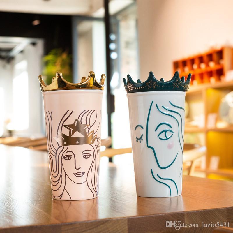 Starbucks Tumbler China 2021 Valentine/'s Mermaid Golden crown Glass Straw Cup