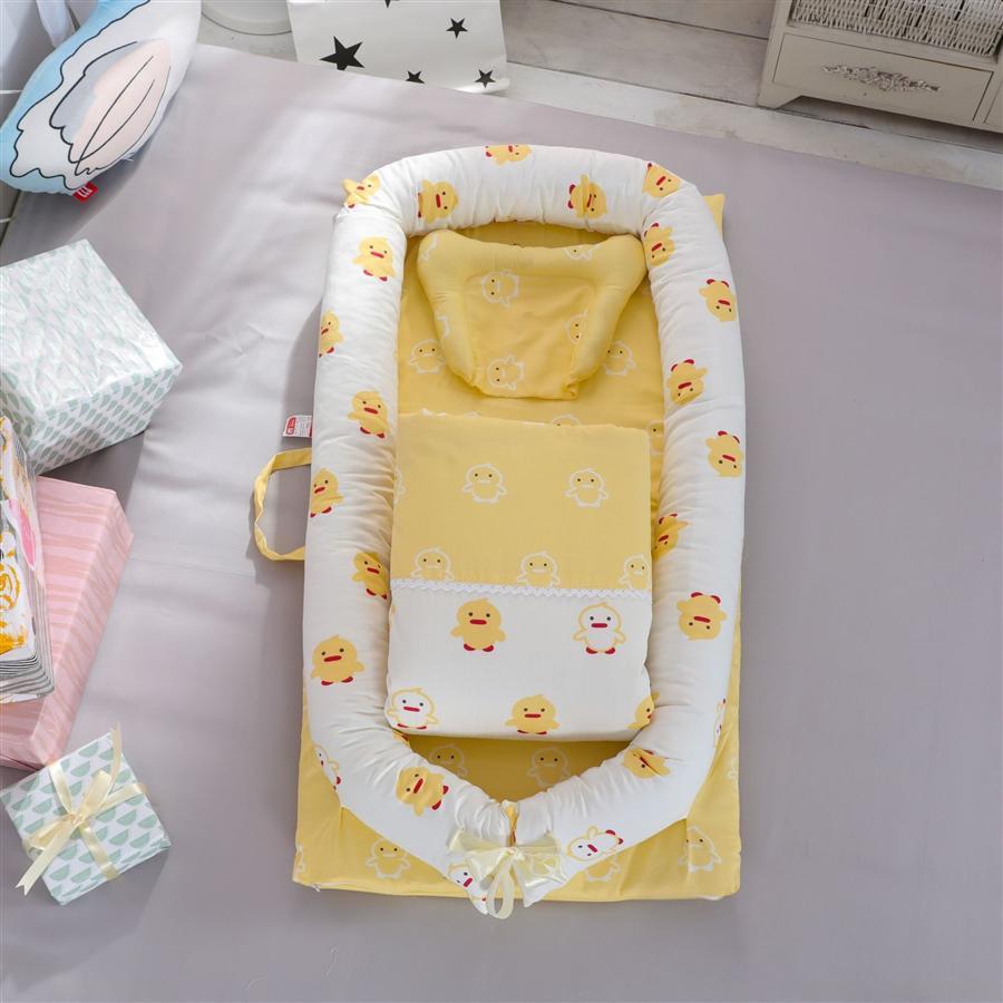 60 Algodón satinado Bebé Portátil Portátil Cinturón Lavable Acolchado Aislamiento Bebé Cama Bed Neonatal Bed Descarga