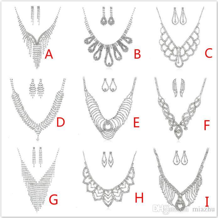 Conjuntos de joyas de moda de lujo de múltiples capas borla rhinestone collar de cristal conjunto de pendientes de gargantilla de las mujeres conjunto para fiesta y boda