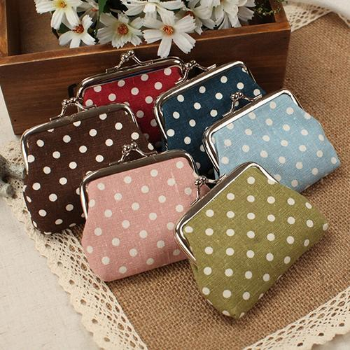 Donne Mini Pois cotone Coin Purse Twist clip Framed Change Bag Small Clutch Wallet borsa di alta qualità