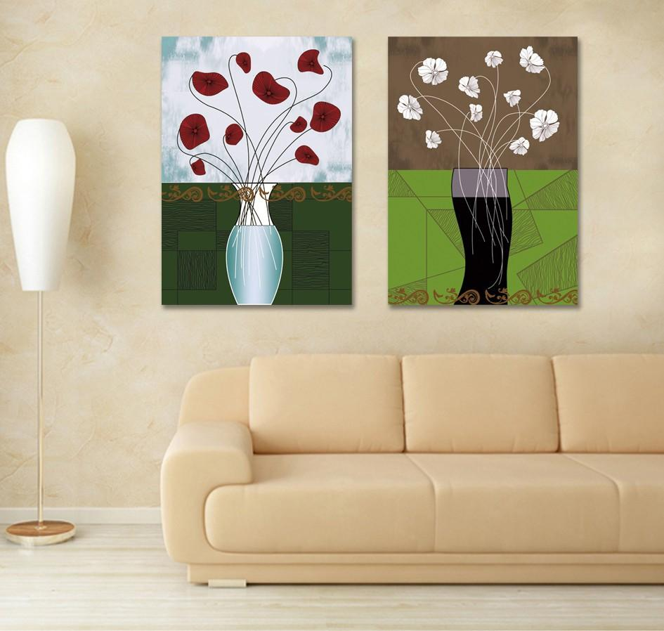Двухсекционный Комбинированный Современный Абстрактный Цветок Живопись Главная Декоративная Живопись Холст Художественные Принты Без Рамы
