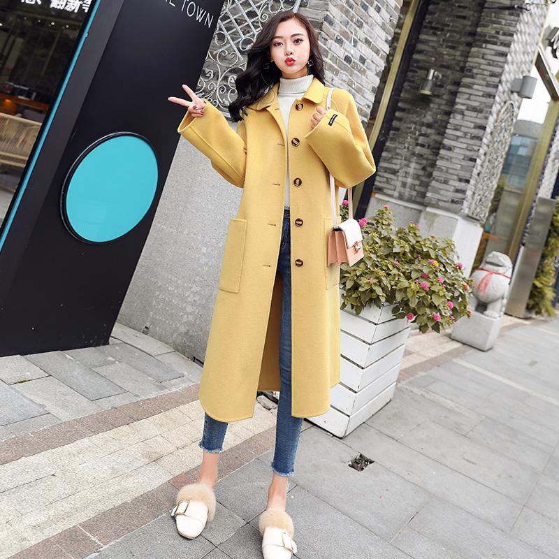 2019 Nouvelle Europe style d'hiver femmes manteau de laine de grande taille à manches longues Automne Slim long manteau de laine Outwear Casaco Feminino