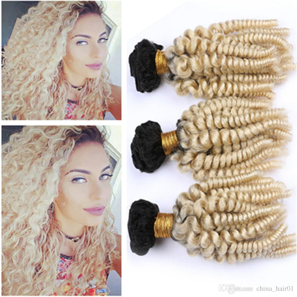 Virgin Malaysian Human Hair Blonde Ombre Aunty Funmi 3Bundles Mixed Length #1B/613 Blonde Ombre Hair Weaves Bouncy Curly Weft Extensions