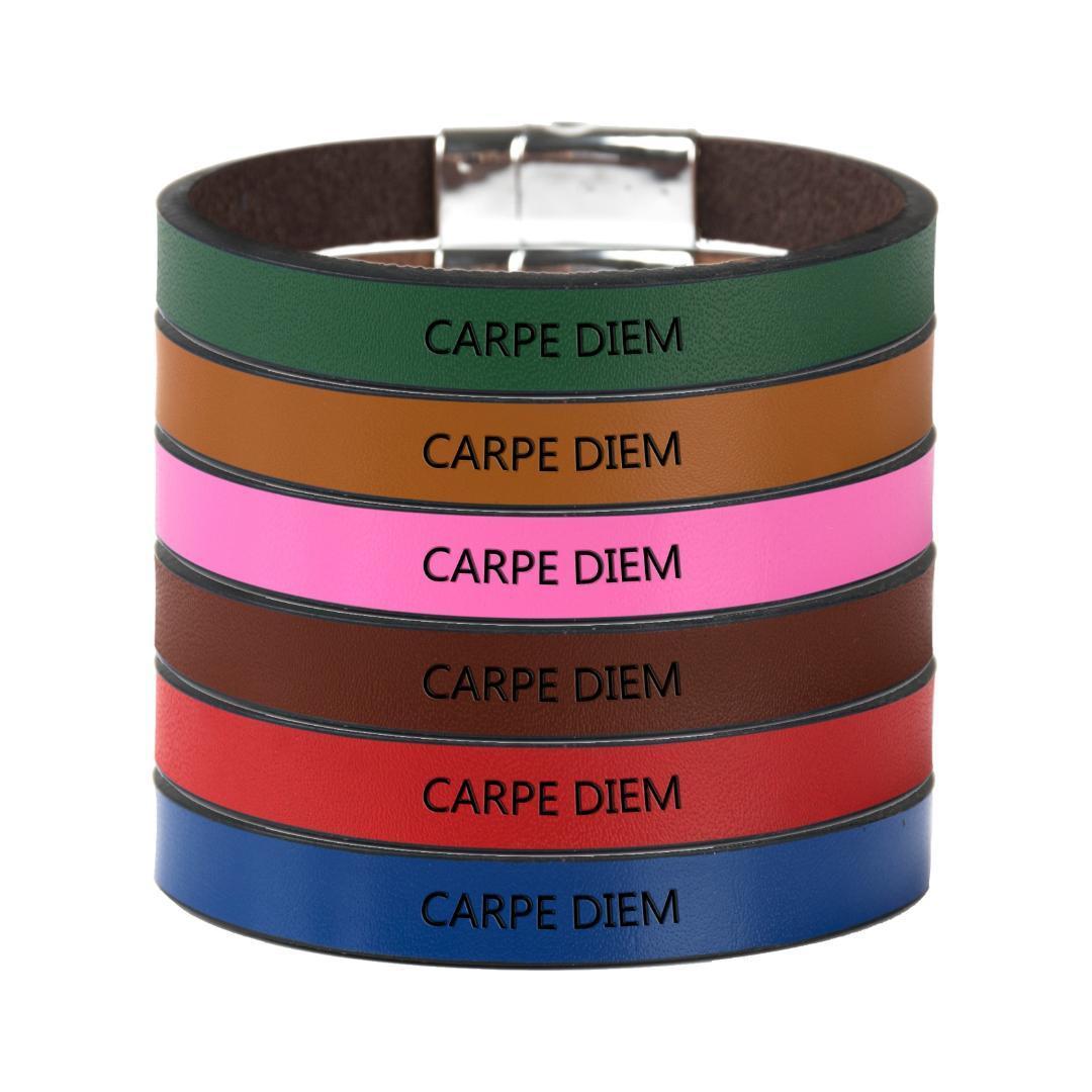 Personalità Genuine Leather Citazione magnetico fibbia inciso CARPE DIEM Mantra del braccialetto dei monili dei braccialetti regalo di compleanno creativo