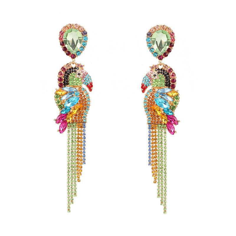 UK/_ Cute Women Multicolor Parrot Bird Pendant Drop Dangle Stud Earrings Jewelry