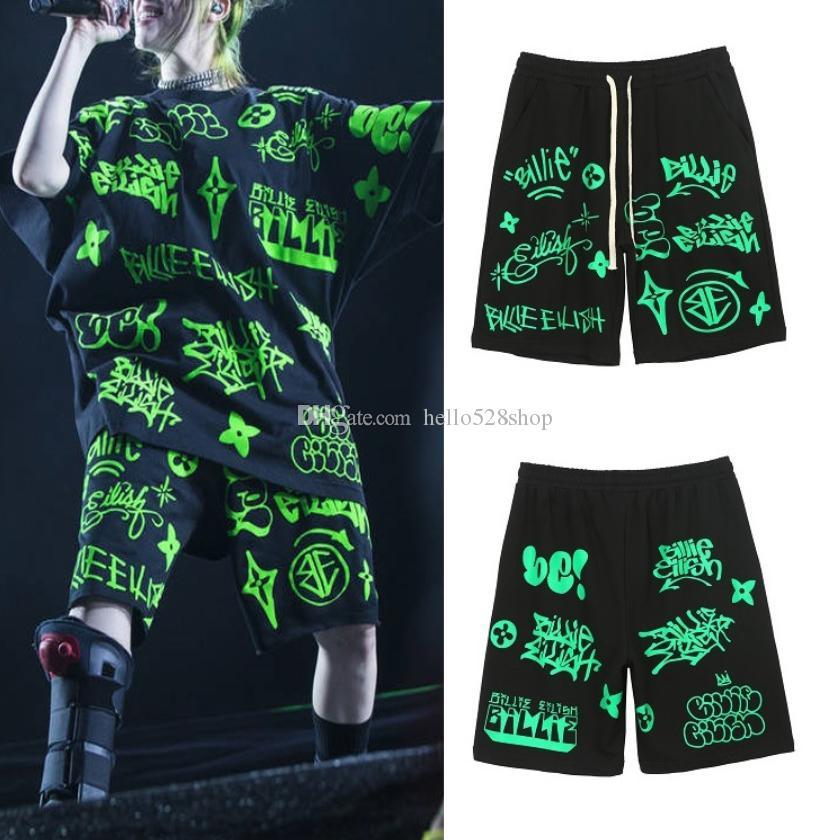 Mens del estilo de Billie para mujer fluorescente verde de la llama camisetas estampadas Pantalones cortos Ins Hip Hop con cordón flojo Tops Casual Summer