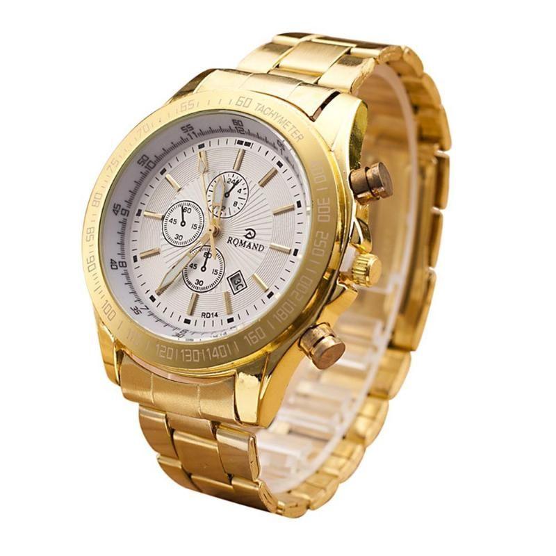 Reloj de oro de los hombres de acero inoxidable reloj análogo de cuarzo Movimiento relojes de cuarzo relojes de los hombres de plata Masculino Relógio