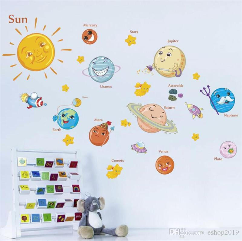 Universe Space Planet Solar System Cartoon Wall Stickers Mural Kid Children Room Bedroom Decoration Home Decor Art Wall Stickers Wallpaper Polka Dot Wall Decals Pretty Wall Decals From Eshop2019 2 28 Dhgate Com