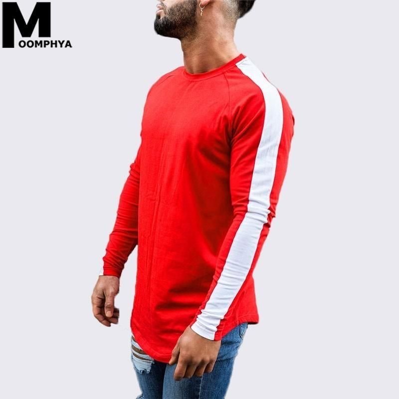 Moomphya 2019 New Side stripes long sleeve men t shirt Streetwear curved hem skinny t-shirt for men Hip hop stylish funny tshirt T200617