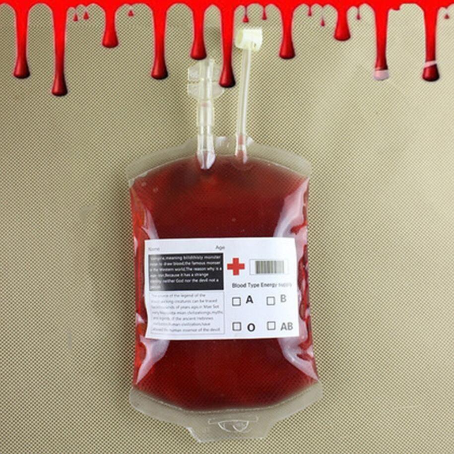 bolsa de sangre de Halloween de Halloween Claro alimenticia del PVC de bebida Bolsa de Diarios de vampiro Cosplay Bolsa Atrezzo decoración de Halloween de sangre Suministros 350ML de