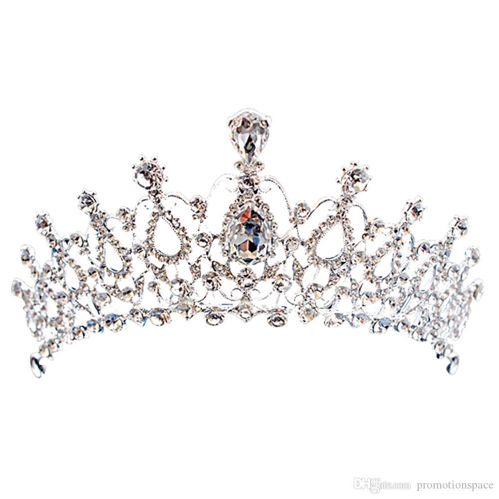 Luxe Bridal Crown Goedkope maar hoge kwaliteit Sparkle Beaded Crystals Royal Wedding Crowns Crystal Sluier Hoofdband Haaraccessoires Party CPA790