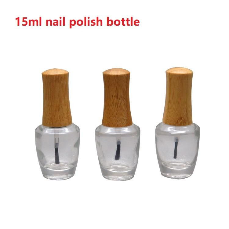 15ml Empty Clear Glass Nail Polish Bottle with Bamboo Cap DIY Cosmetic Liquid Nail Art Container with Brush Makeup tool