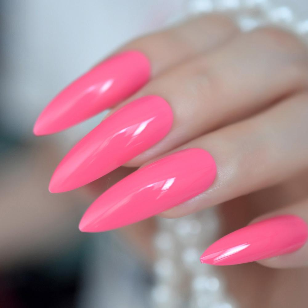 Hot Pink Extra Long False Nails Stiletto Tips Oval Sharp End Stilettos Fake Rose Red Uv Gel Manicure Artificial Salon