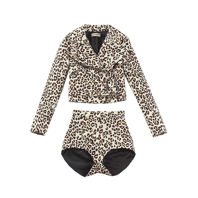le palais vintage Limited Edition Wool Blend Leopard Suits Moto Biker Short Jacket and Slim High Rise Sexy Shorts 2 Pieces Suits