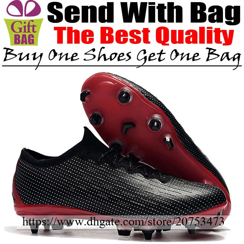 Nuevo JD X PSG Calzado de fútbol para exteriores Futsal Mercurial Vapors XII ACC SG Tacos de fútbol Hombre Picos Calcetines Botas de fútbol Negro Rojo 6.5-12