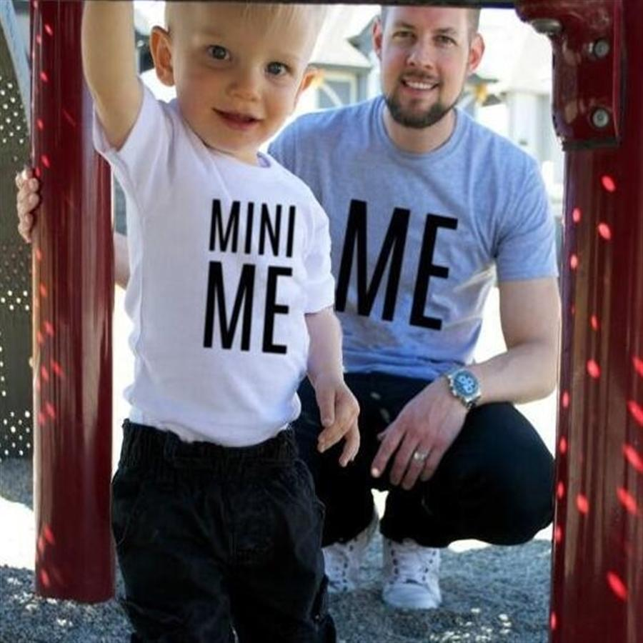 Me mini me small my stylish dad cute and interesting cotton T-shirt parent-child father-child wear