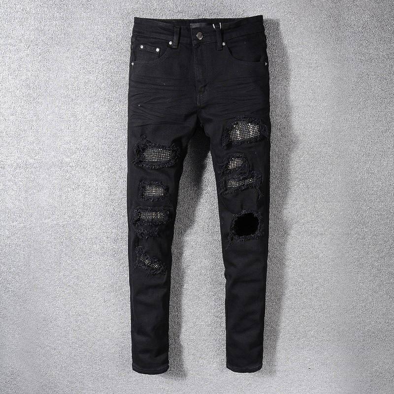 Yeni Erkek Jeans Lüks Erkek Fermuar Jeans Denim Pantolon Erkek Tasarımcı Yüksek Kalite Biker Pantolon Boyut 28-42 Ripped
