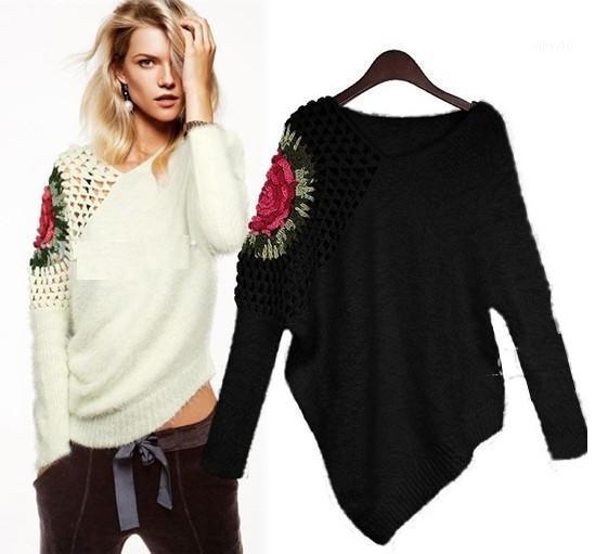 Оптовая продажа-высокое качество 2016 Новая зимняя мода Женская Свободная вязка Роза выдалбливают на плече трикотаж свитер топы и пуловеры в Stock1