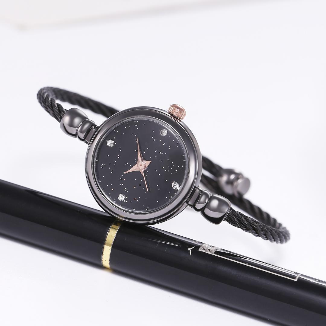 Kadınlar Saatler Cam Ayna Bileklik Saat Dairesel Analog İnce Kayış Altın Kuvars Saatler Bayanlar