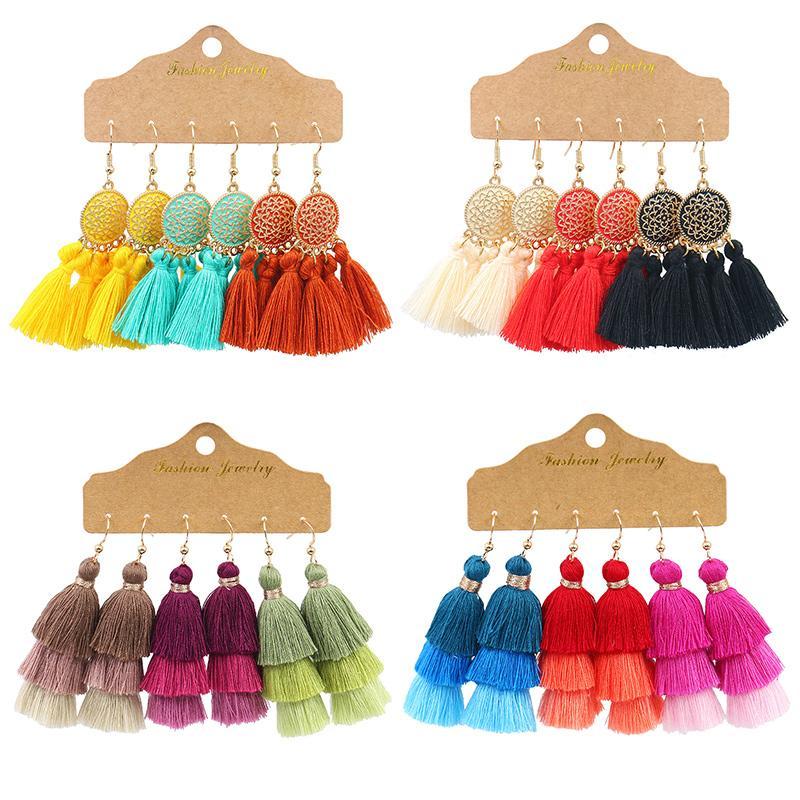 estilo vintage esculpida brincos coloridos guarda-chuva temperamento franjas para as mulheres presentes da jóia amigos orelha pingentes