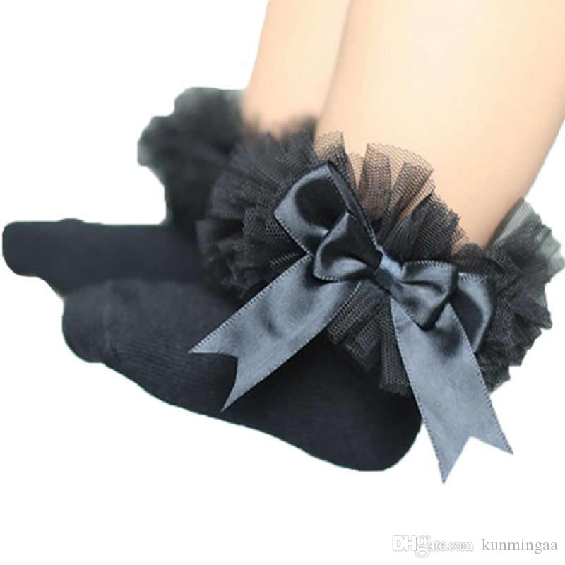 Recién nacido Niño Bebé Niñas Niños Princesa Bowknot Encaje Floral Calcetines cortos Algodón Ruffle Con volantes Calcetines de tobillo