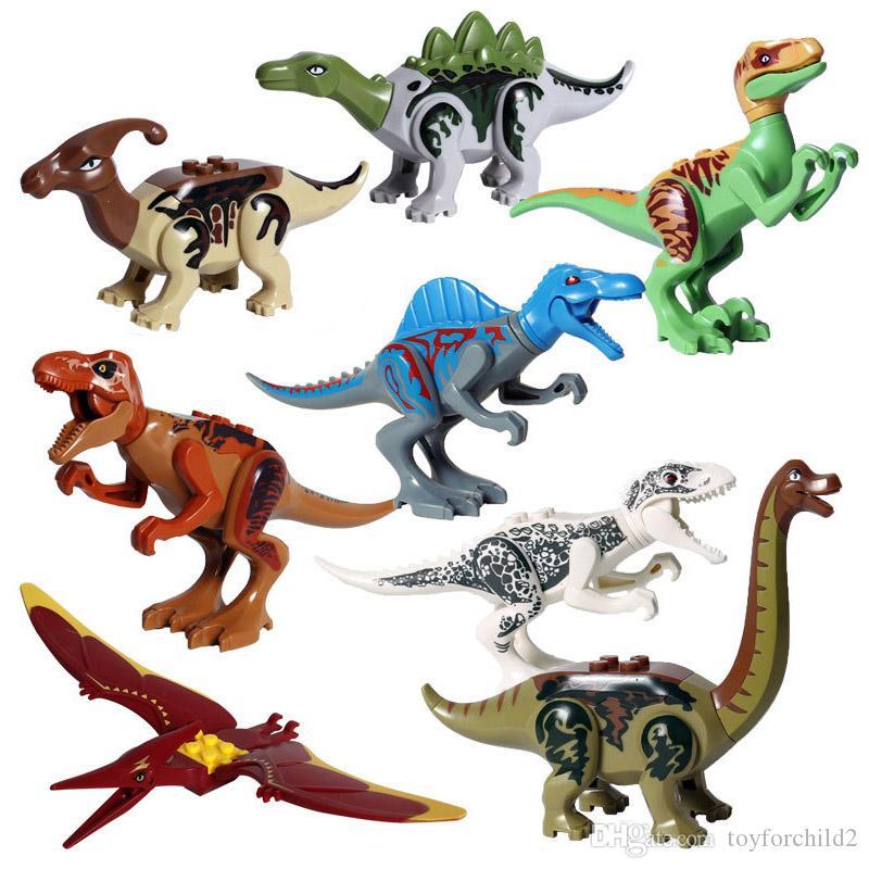Educational 8 pcs Lot Jurassic Dinosaur World T-Rex Raptor Triceratops Action Figure Big Size Building Blocks Toy For Children