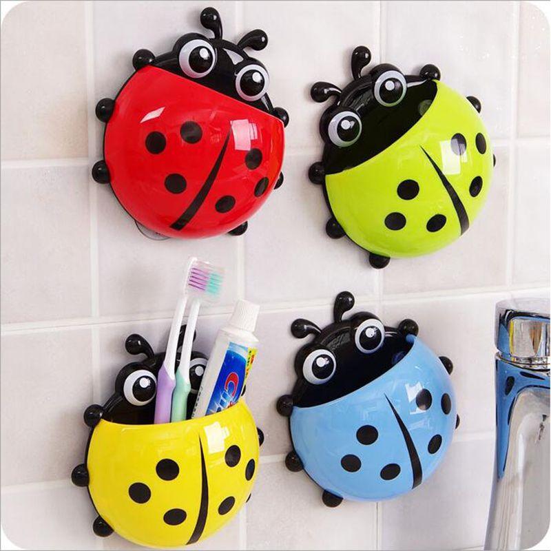 Joaninha escova de dentes Creme dental Titulares Início arrumação de parede de sucção Itens Suporte Escova De Dente Parede domésticos Acessorio Banheiro