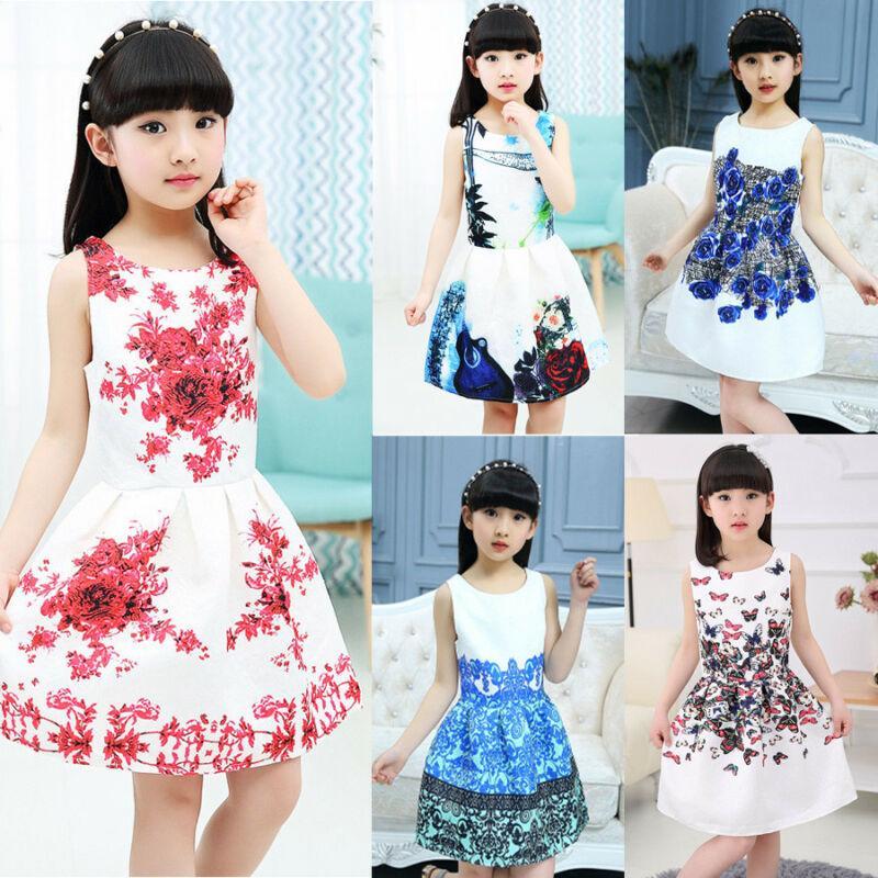 Çocuklar Elbise Yaz 2020 Elbiseler Kız Elbise Çiçek Baskı Genç Kız Parti Elbise 6 8 10 12 Yıl Çocuk Çocuk Giyim için