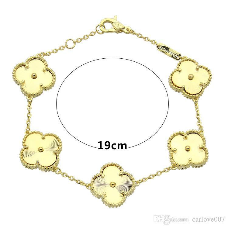 316L Novo aço Titanium pulseira pulseira de amor com 5 flor pulseira 18 K chapeamento de Ouro 18.5 cm de comprimento para as mulheres pulseira presente do Dia Dos Namorados