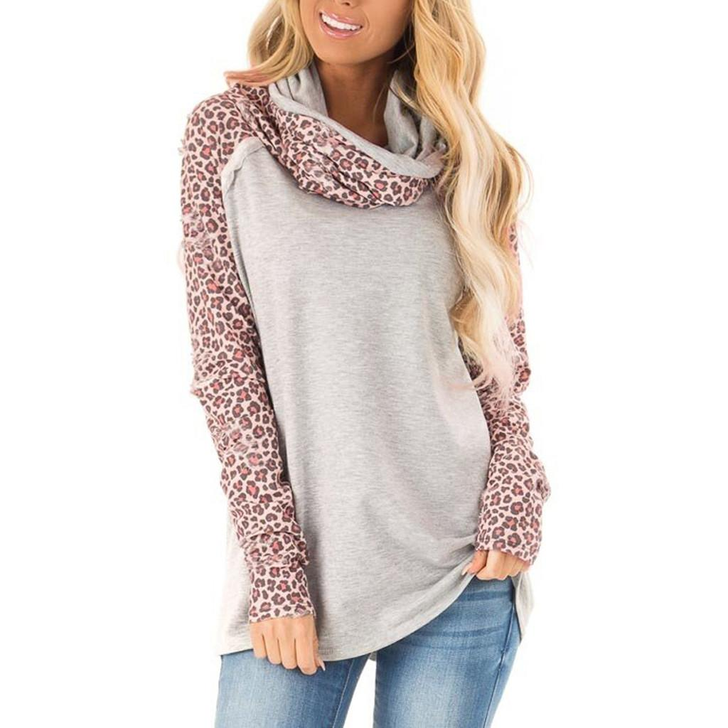 CHAMSGEND Women Sweatshirts Long Sleeve Autumn Leopard Print Patchwork Fashion Kpop Scarf collar pullover Casual streetwear F722
