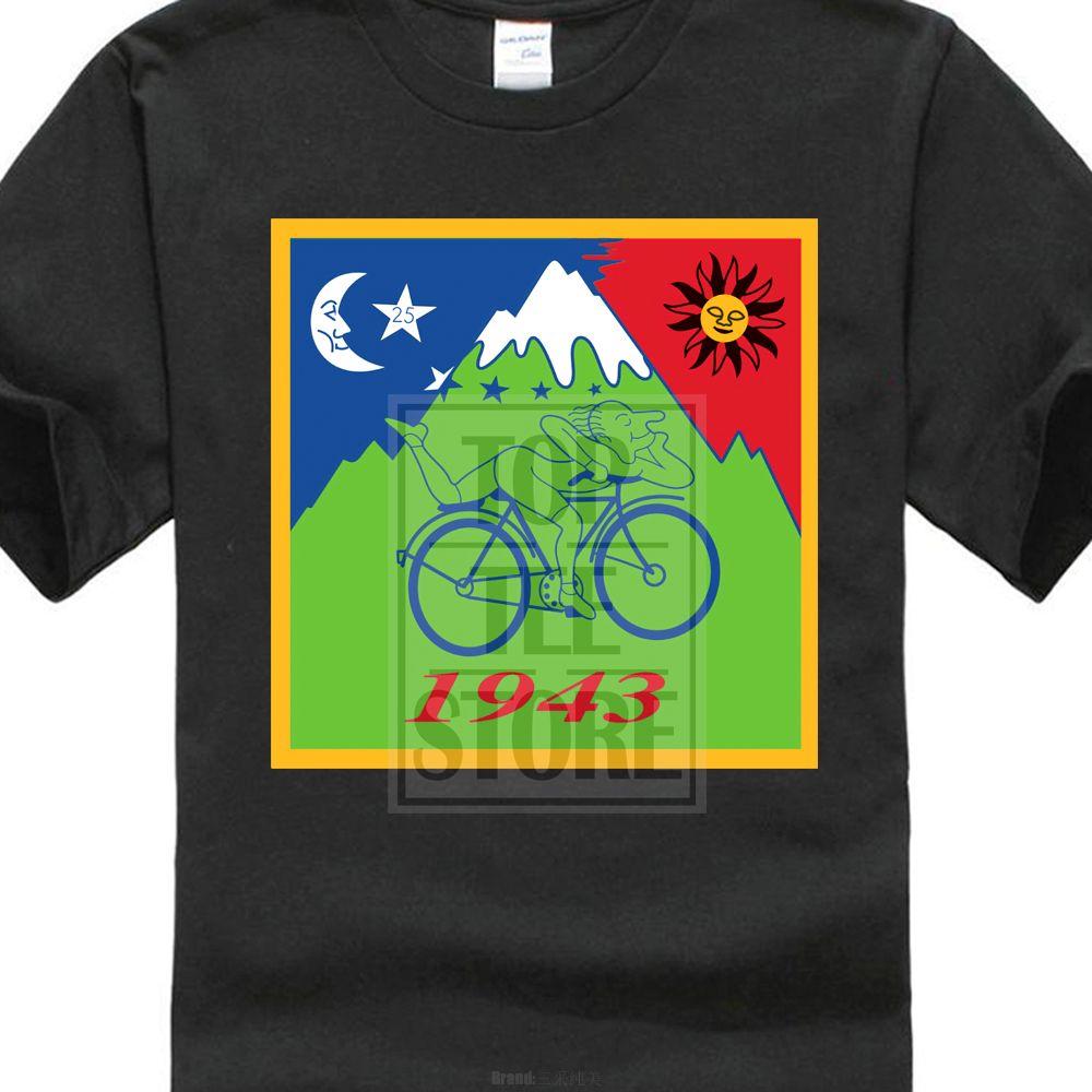 Camisa Albert Hofmann Selo Bicyle D35 Camisetas Hoffman Tripshort Ácido Manga Impresso O Pescoço Tee Para Homens Juventude