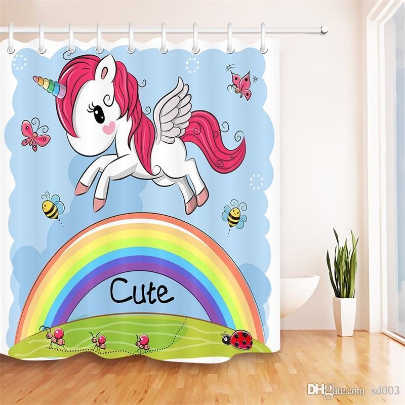 Arc-en-Unicorn fibre de polyester Fenêtre Rideaux d'impression numérique Salle de bain en tissu imperméable rideau de douche Ensembles Mildiou Preuve Vente Hot 29szb1