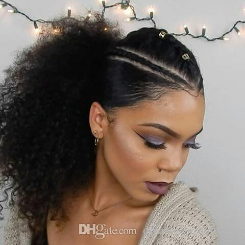 12 Inch Cabelo Humano Afro Curto Kinky Curly Chignon Bun cabelo para as mulheres com cordão de-cavalo Enrole peruca 100 Remy Hair Extension (1B) 120g