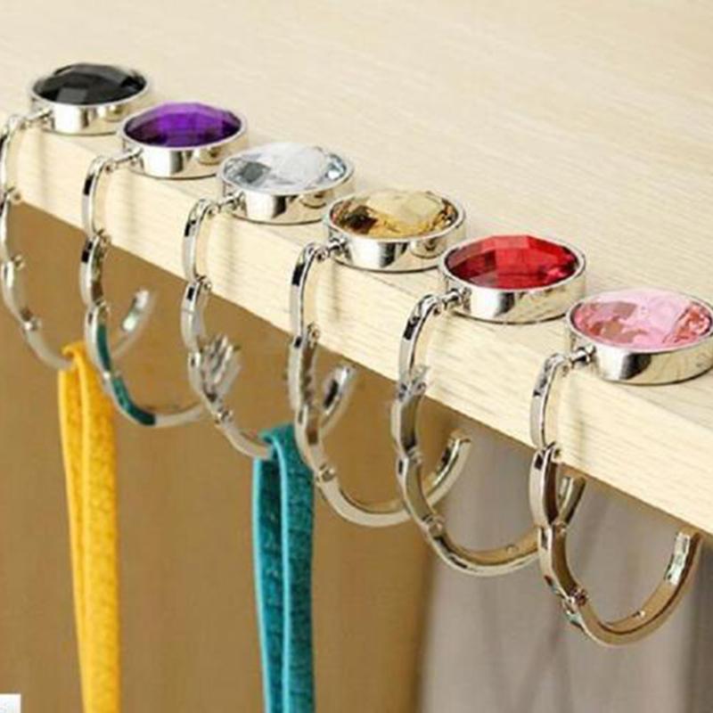 Crystal Design Table Desk Folding Handbag Purse Bag Hanger Car Hook Holder