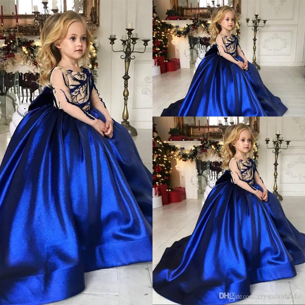 Дешевые Royal Blue Flower девушки платья атласная Длинные рукава Кристалл бусы девушка Pageant платья Teens Kid Wear Birthday Party причастие платье