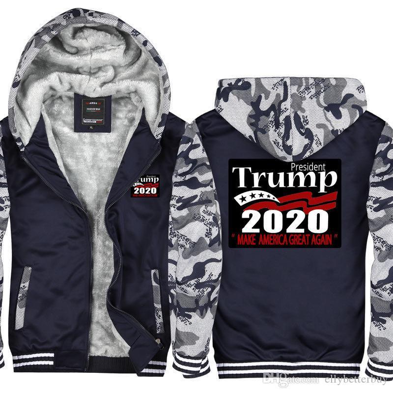 Kamuflaj Erkekler Kapüşonlular Başkanı Trump 2020 tutmak Amerika büyük Man'ın Tasarım Erkek Ceket Coat Kalınlaşmak Fleece Kazak ABD, AB boyutu Tops kadar Zip