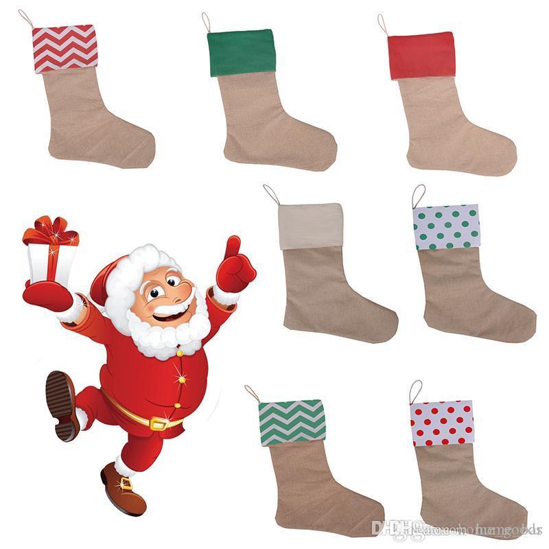 Santa Sacks pamuk Noel çorap 30 * 45cm depolama şeker ev Noel ağacı Çorap dekorasyon tuvaline Hediyelik Çantalar çorap yılbaşı süsleri