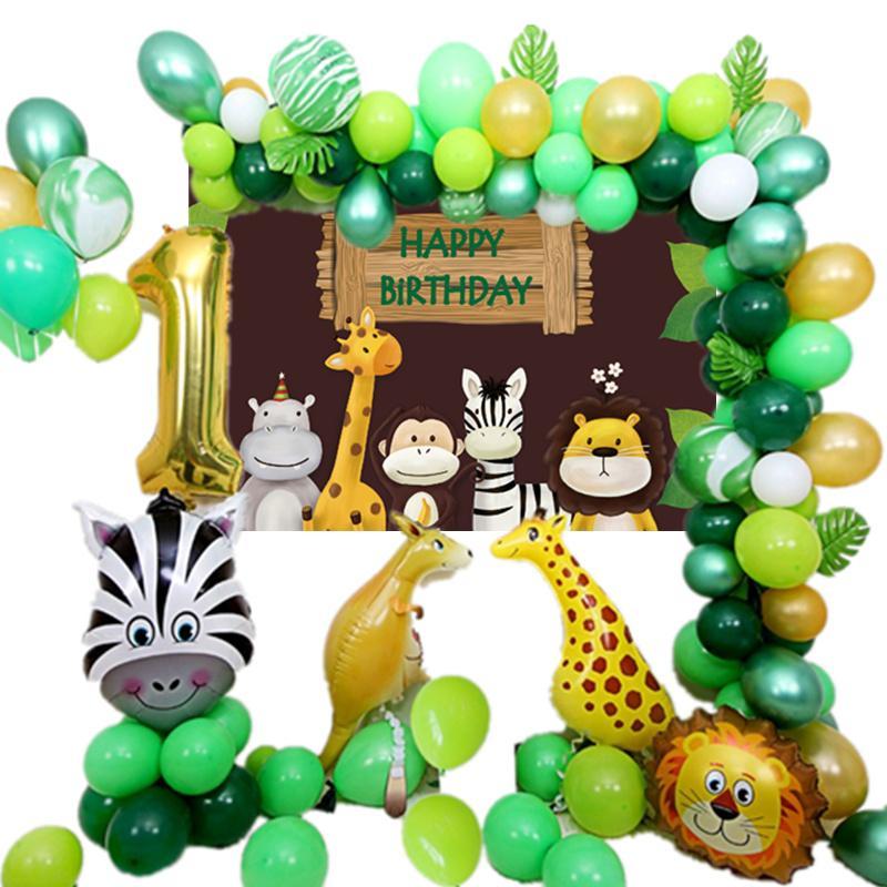 Birthday Party Decorations Kids Safari Animal Green Ballon Garland Forest Theme Ballon Banner Happy Birthday Balloon Backdrop SH190920